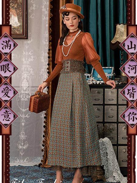 电影时装女装品牌2020秋季波浪纹青色收腰连衣裙