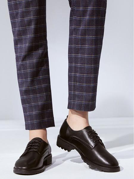 森达鞋帽/领带品牌男士黑色绳结皮鞋