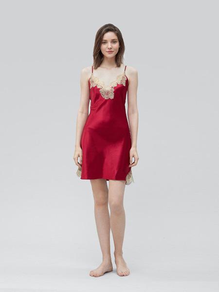 MANITO内衣品牌2020春夏吊带大红色睡裙