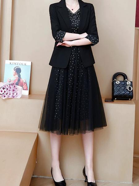 花月秋女装品牌2020秋季黑色西装外套