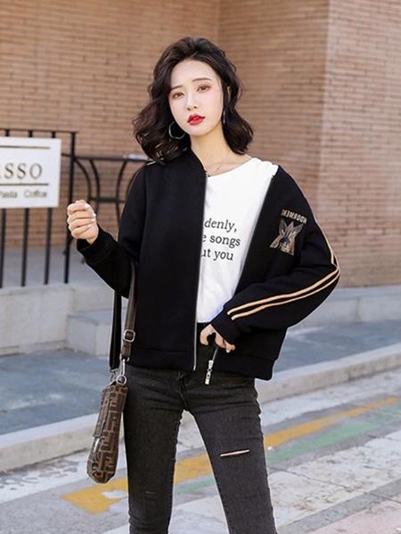 花月秋女装品牌2020秋季黑色休闲外套