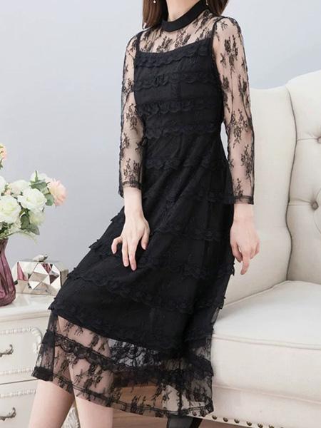 花月秋女装品牌2020秋季网纱修身黑色连衣裙