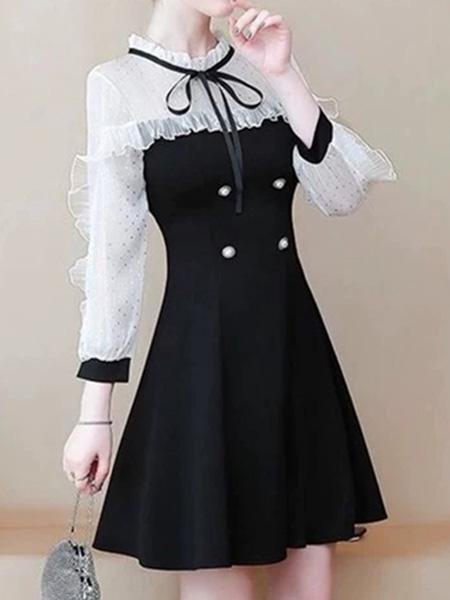花月秋女装品牌2020秋季蝴蝶结拼接黑色连衣裙