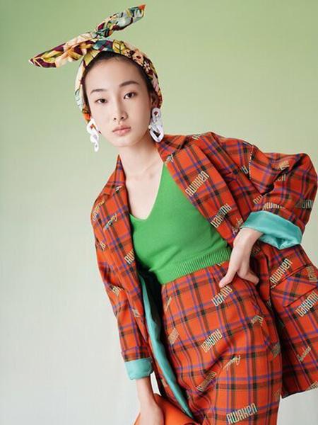 彩知丽CZHLE女装品牌2020秋季大格纹橙色西装套装