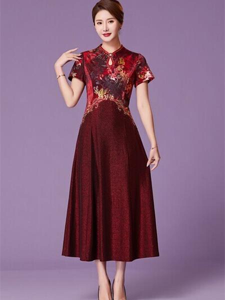 优莱斯雅女装品牌2020春夏旗袍式深红色连衣裙