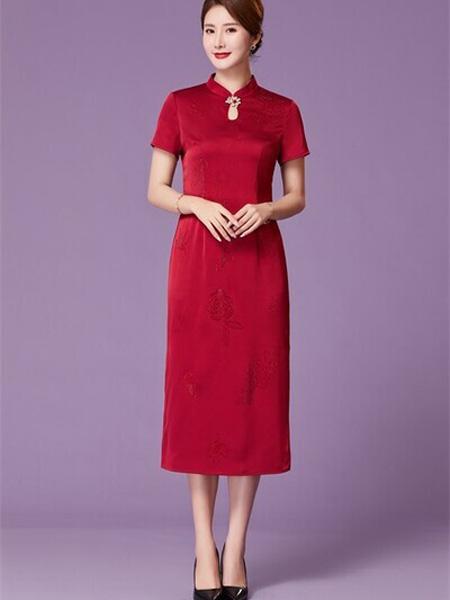 优莱斯雅女装品牌2020春夏大红色旗袍连衣裙修身