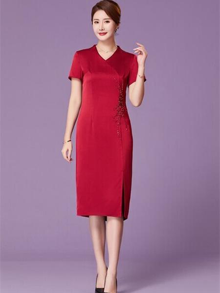 优莱斯雅女装品牌2020春夏V领大红色端庄连衣裙修身