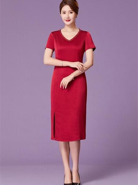 优莱斯雅女装品牌2020春夏V领红色开叉连衣裙修身