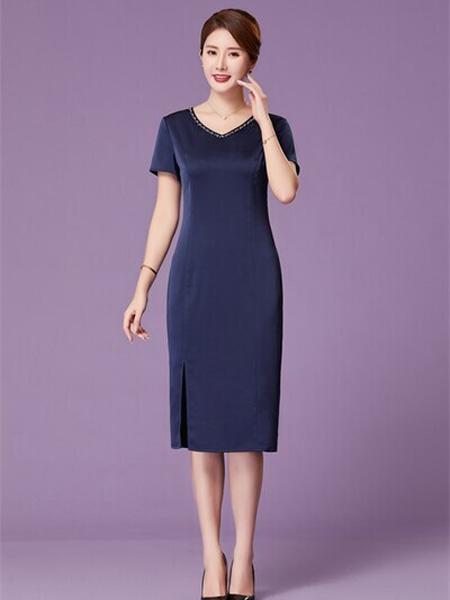 优莱斯雅女装品牌2020春夏藏蓝色V领连衣裙修身