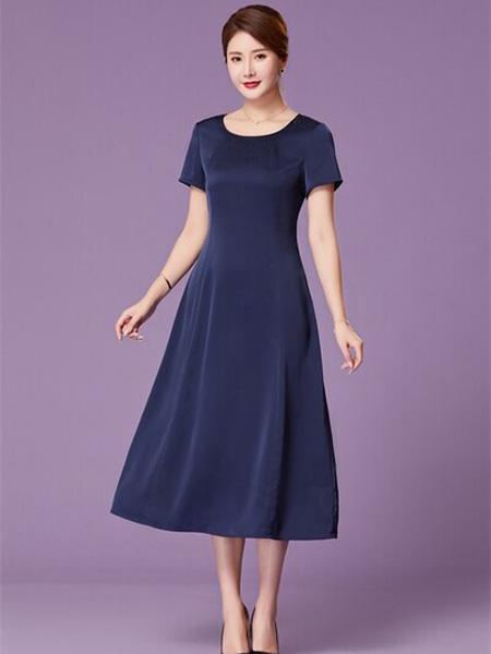 优莱斯雅女装品牌2020春夏圆领藏蓝色连衣裙