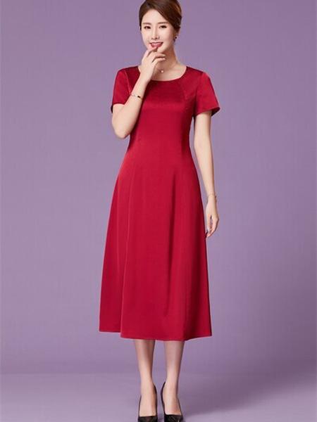优莱斯雅女装品牌2020春夏圆领红色连衣裙