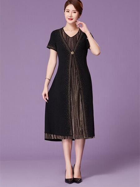 优莱斯雅女装品牌2020春夏V领黑色连衣裙