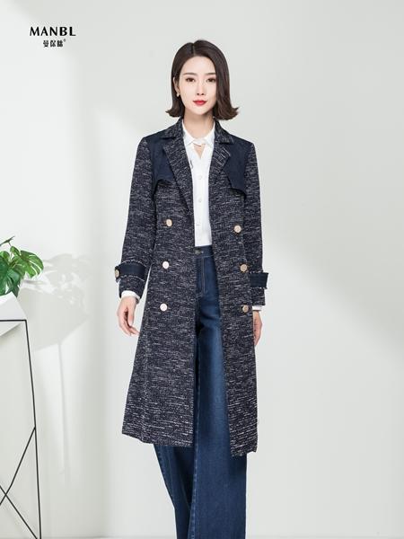 曼保睐女装品牌2020秋季迷雾深灰色中长款风衣外套