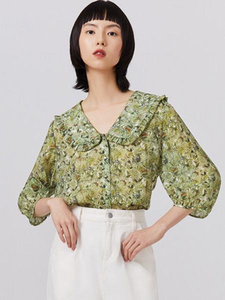 纳薇naivee女装品牌2020秋季Naivee纳薇2020年秋季新款法式娃娃领灯笼袖碎花衬衫上衣