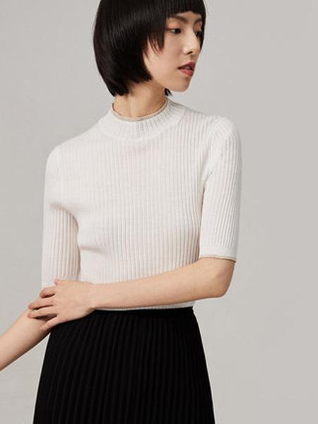 纳薇naivee女装品牌2020秋季naivee纳薇2020秋季新款白色五分袖针织打底衫女