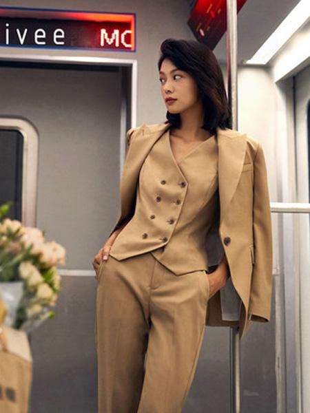 纳薇naivee女装品牌2020秋季三木博主同款纳薇naivee2020秋季新款通勤浅米直筒九分裤西装裤女