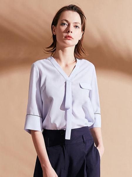 纳薇naivee女装品牌2020春夏纳薇2020夏季通勤职场V领中袖飘带蓝色雪纺衬衫小上衣女