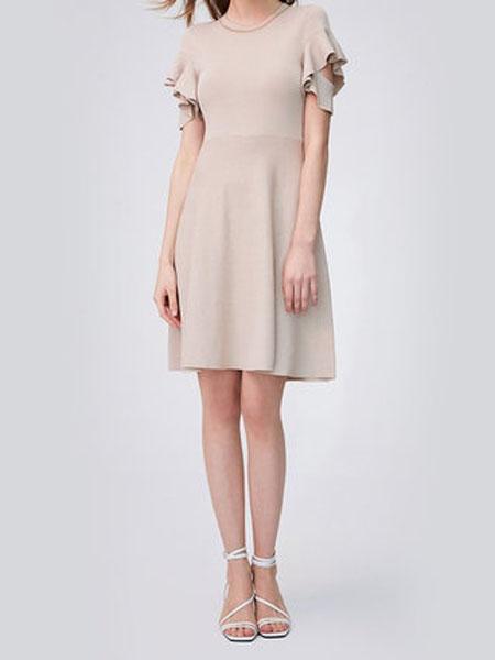 纳薇naivee女装品牌2020春夏纳薇2020夏季新款职场通勤法式千鸟格提花荷叶袖收腰两穿式连衣裙