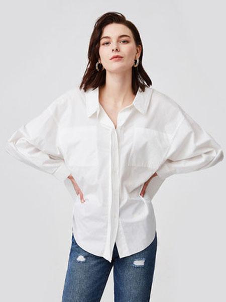 纳薇naivee女装品牌2020春夏naivee纳薇2020夏季新款职场通勤小众设计感男友风宽松白衬衫女
