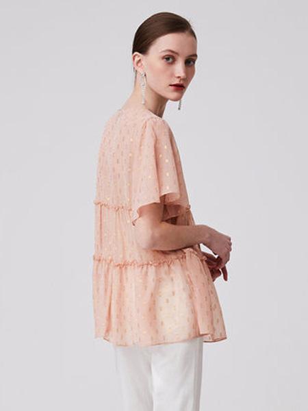 纳薇naivee女装品牌2020春夏naivee纳薇2020夏季新款亮丝系带木耳边雪纺娃娃衬衫上衣