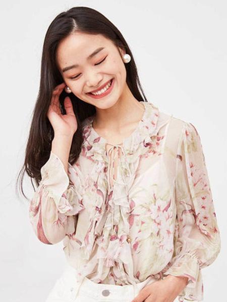 纳薇naivee女装品牌2020春夏naivee纳薇2020夏季新款法式复古荷叶边粉色印花仿真丝雪纺衬衫女