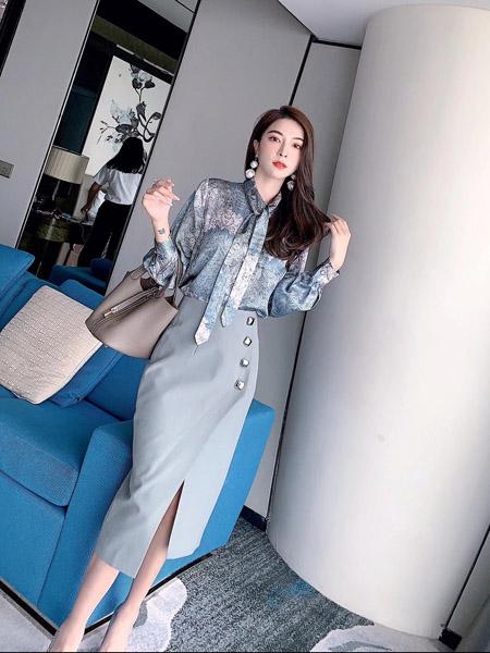 索诗妃儿SUOSHIFEIER女装品牌2020秋季青色休闲长裙