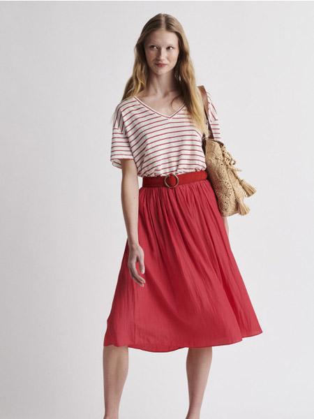 GERARD DAREL女装品牌2020秋季粉白条纹连衣裙