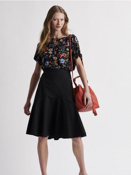 GERARD DAREL女装品牌2020秋季黑色印花连衣裙