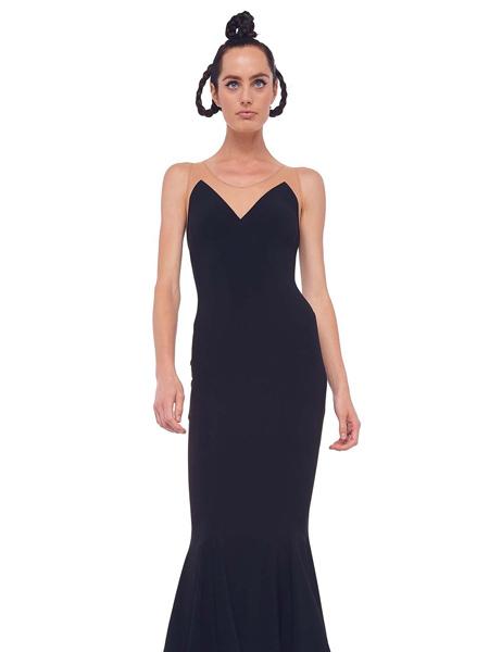 NORMAKAMALI女装品牌2020秋季黑色深v连衣裙