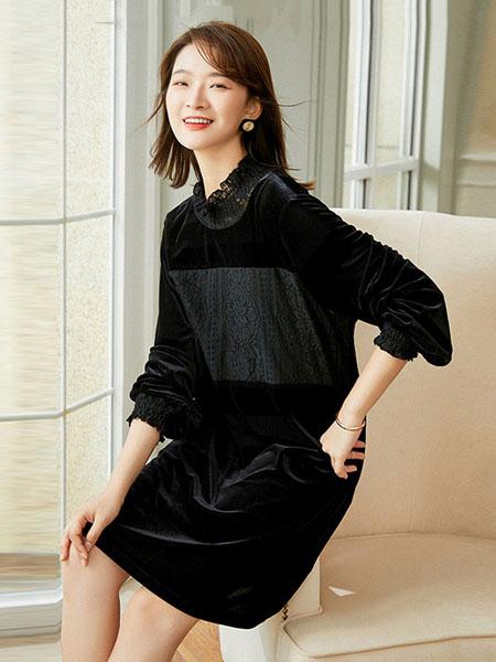 锦蕙兰女装品牌2020秋季圆领黑色连衣裙