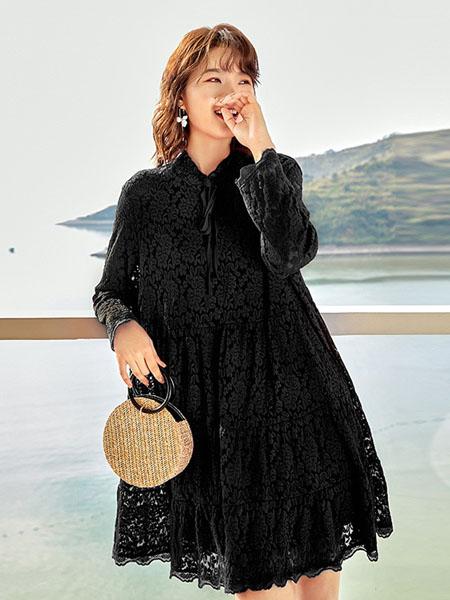 锦蕙兰女装品牌2020秋季织花黑色连衣裙