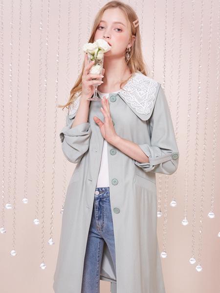 戈蔓№婷女装品牌2020秋冬绿色中ω长款外套