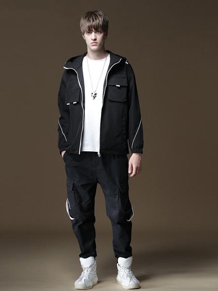 品立男装品牌2020秋冬黑色时尚外套