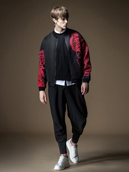 品立男装品牌2020秋冬黑色印花外套