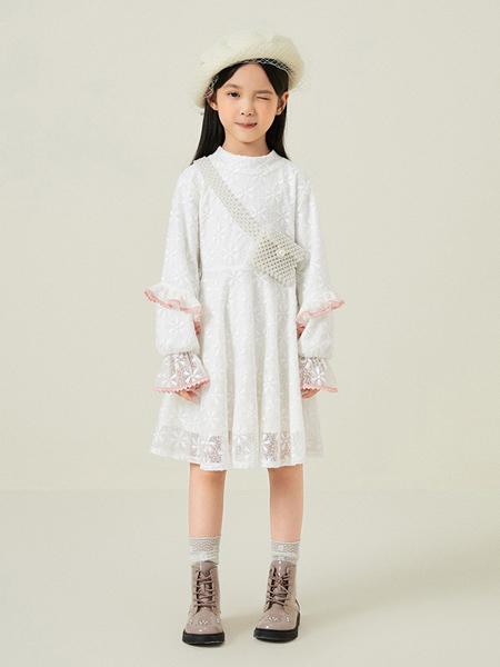 gxgkids童裝品牌2020秋冬白色公主連衣裙