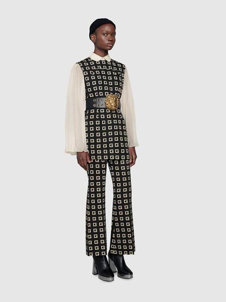 Gucci古驰女装品牌2020秋季方形G印花罗缎短款连衣裙