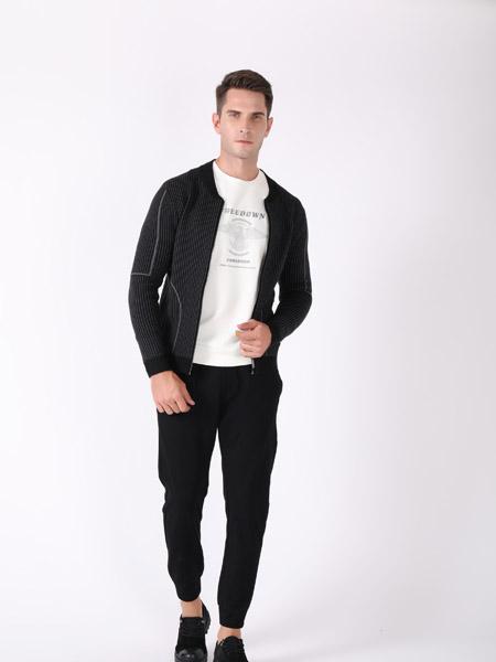 恩咖男装品牌2020秋季黑色条纹外套