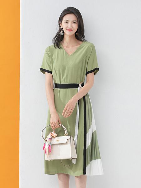 凝慧女装品牌2020春夏绿色森系连衣裙