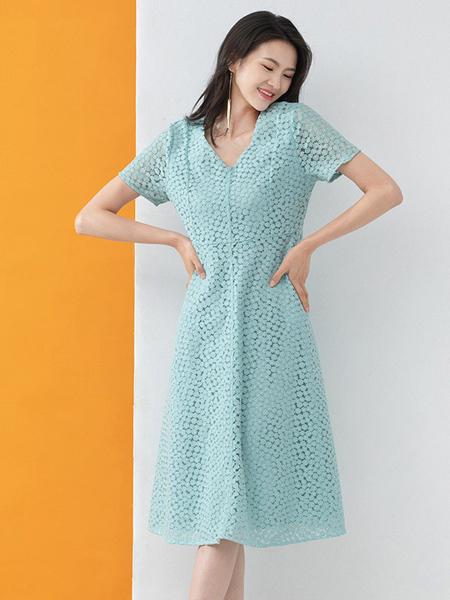 凝慧女装品牌2020春夏青色时尚连衣裙