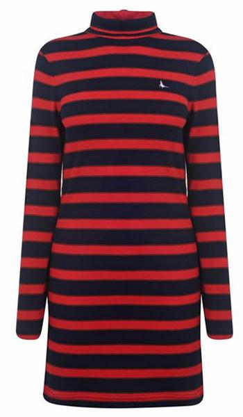 jackwills女装品牌2020秋季红黑条纹连衣裙