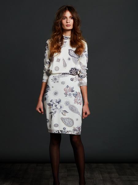 Leonard Paris女装品牌2020秋季白色收腰连衣裙