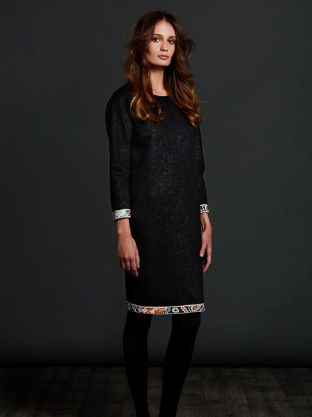 Leonard Paris女装品牌2020秋季圆领中长款黑色连衣裙