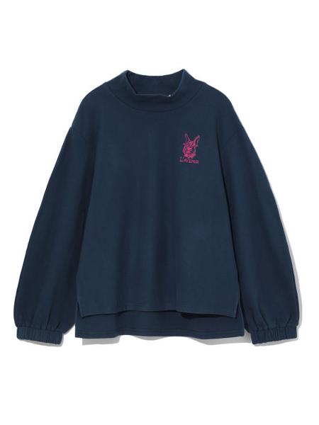b+ab女装品牌2020秋季暗蓝色印花上衣