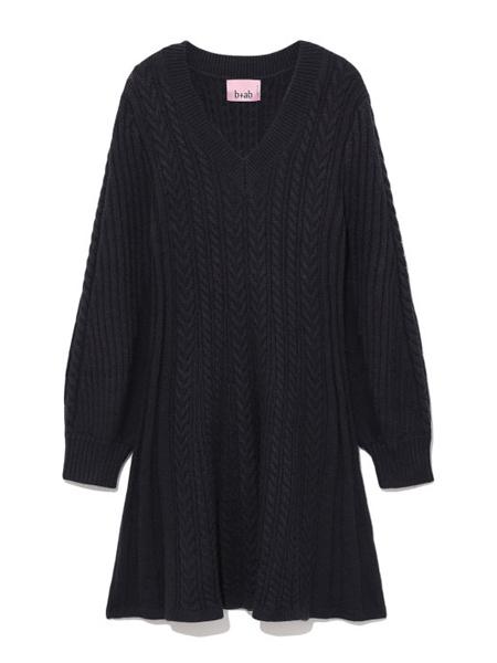 b+ab女装品牌2020秋季黑色休闲连衣裙
