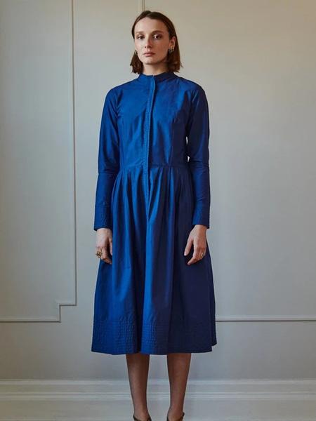 Sophie Theallet女装品牌2020秋季蓝色休闲连衣裙