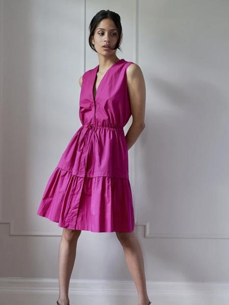 Sophie Theallet女装品牌2020秋季粉色无袖连衣裙