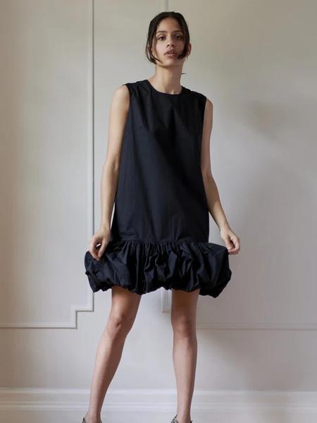 Sophie Theallet女装品牌2020秋季黑色时尚无袖连衣裙