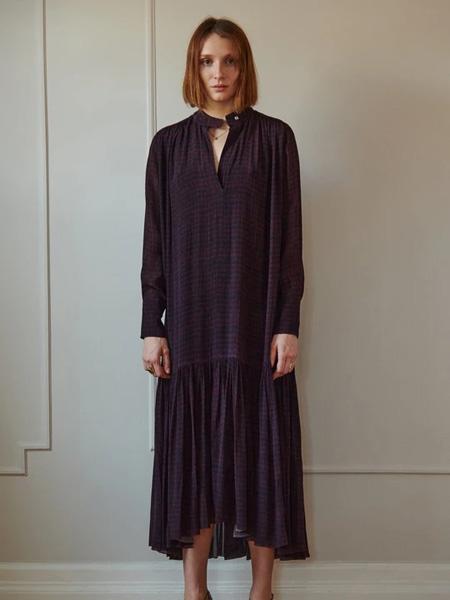 Sophie Theallet女装品牌2020秋季暗紫时尚连衣裙