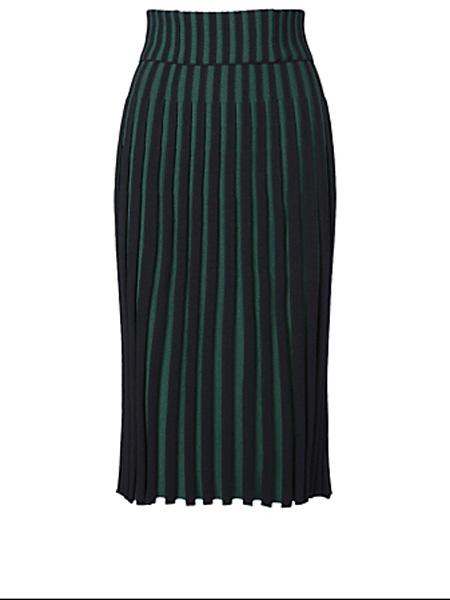 Holt Renfrew女装品牌2020秋季健三百褶罗纹中长半身裙