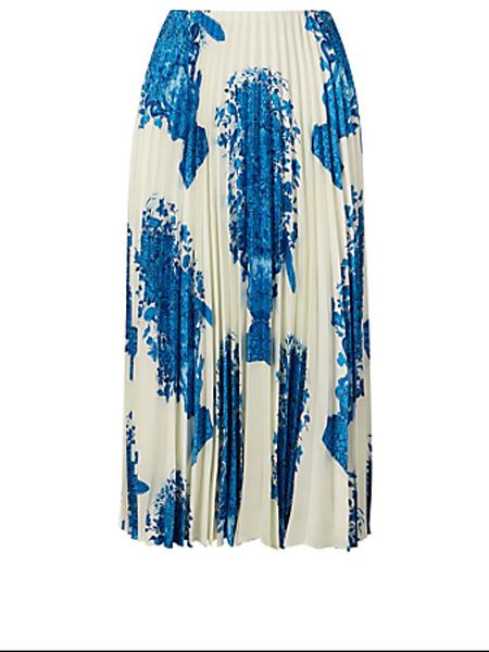 Holt Renfrew女装品牌2020秋季华伦天奴代尔夫特印花真丝百褶中长半身裙